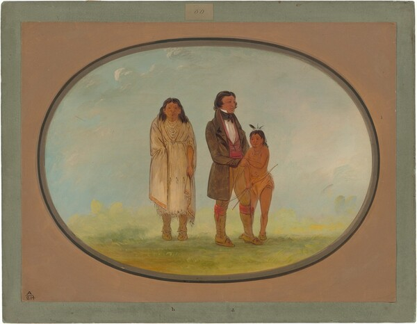 Kaskaskia Chief, His Mother, and Son