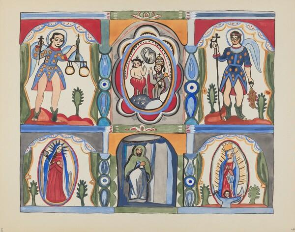 Plate 6: Chapel Altarpiece, Santa Cruz: From Portfolio Spanish Colonial Designs of New Mexico