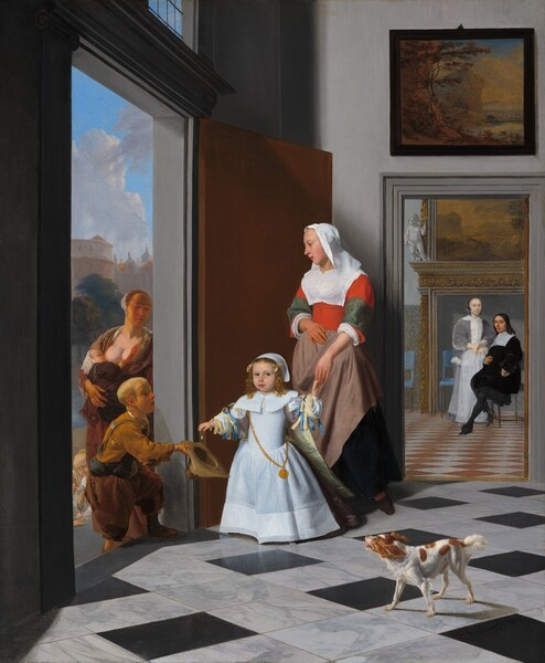 A Nurse and a Child in an Elegant Foyer