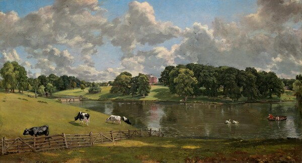 We look out onto a landscape with low, grassy hills to the left, a lake to the right, and a brick building in the center distance below a sky filled with towering white clouds. The horizon line bisects the horizontal canvas. A wooden fence in the foreground crosses the landscape from the lower left corner and disappears where the land slopes down to meet the water at the center of the painting. Several black and white cows graze in the field beyond the fence to our left. Two men in a wooden boat pull in nets on the lake to our right near a pair of swans. The lake crosses the composition in the middle ground, disappearing into a culvert in the distance. A donkey pulls a small carriage with two people near a bridge that crosses the lake in the middle distance to our left. The large brick house is visible through a break in the full, deep green trees that line the horizon. The clouds cast noticeable shadows in the brightly sunlit scene.