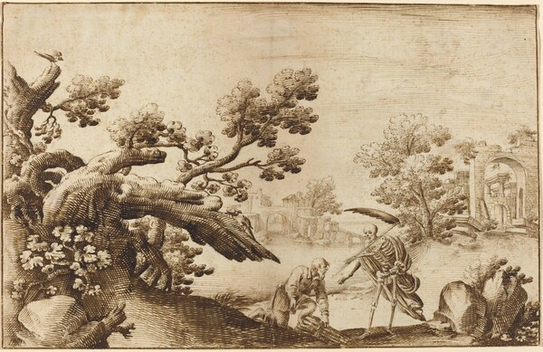 Death and the Woodman in a Coastal Landscape with Ruins