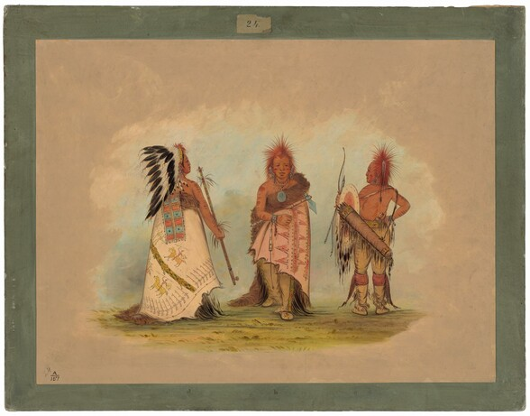 A Pawnee Chief with Two Warriors