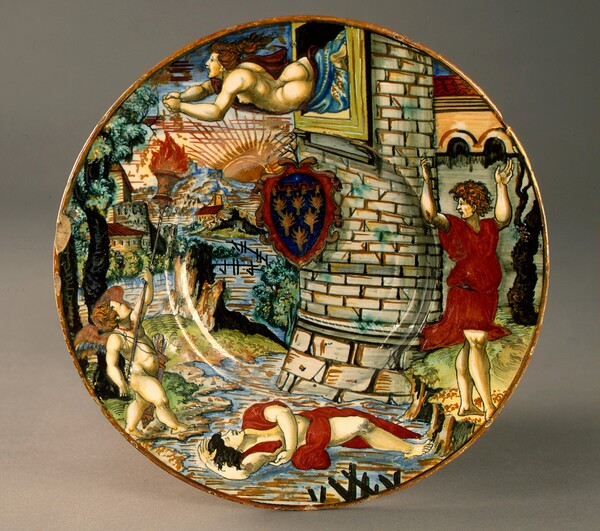 Plate with Hero leaping to her death from her tower and the drowned Leander; in the center, a shield of arms