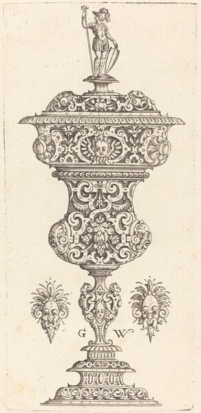 Goblet with lid surmounted by a Roman soldier