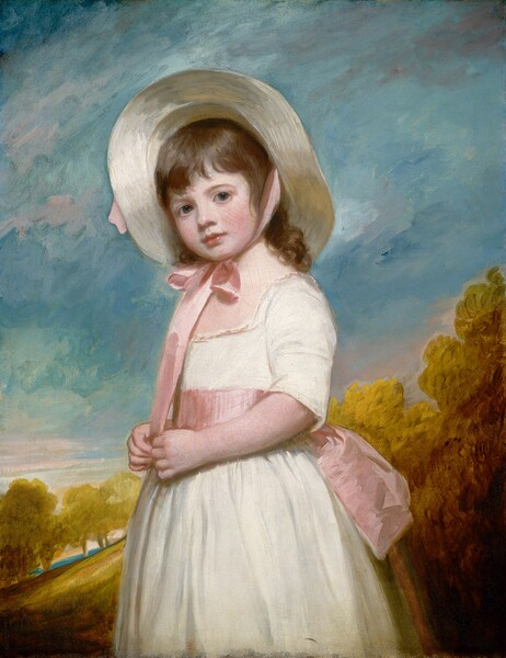 Shown from about the knees up, a young girl with porcelain-white skin and flushed cheeks stands in front of a landscape, looking at us in this vertical portrait painting. She stands with her body angled to our left and turns her face to us. Her chestnut brown hair curls down the nape of her neck and her bangs sweep across her forehead over slate-blue eyes. Her turned-up nose and pink bow mouth are set within in her round face. The girl's creamy skin, her white dress, and her ivory-colored, wide-brimmed straw hat are brightly and evenly lit. Her flushed cheeks are echoed by the broad, petal-pink sash tied around her waist into a bow at her back and the matching ribbon of her hat, tied in a bow under her chin. The pink is picked up with a few streaks in an aquamarine blue sky behind her. A hillside painted with tones of harvest gold and tawny brown slopes up from the lower left corner to the right edge of the canvas. The landscape is boldly painted with lively brushstrokes.