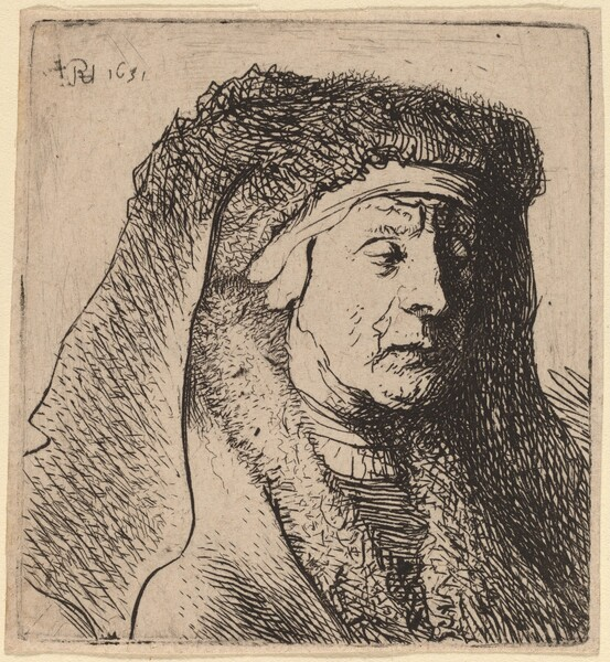 Bust of an Old Woman in a Furred Cloak and Heavy Headdress