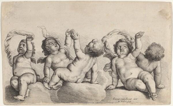 Three Cherubs and Two Boys Each Raising One Arm on Clouds