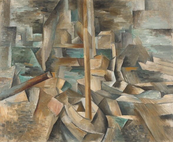 A patchwork of earth-toned rectangles, cubes, and prism-like shapes surrounded by pools of cool aquamarine and silvery gray fill this square, nearly abstract painting. A curving, pointed form at the lower center could be a boat with a tall, fawn-brown mast. It is surrounded by forms suggestive of rocks, other boats, or structures against a watery horizon. Most of the shapes around the boat are leather brown, tan, apricot orange, muted violet, or steel gray. Another tube, suggestive of a mast, angles up from near the lower left corner, about a third of the way into the composition. Many of the shapes are outlined with charcoal gray lines. Horizontal and blended strokes in pewter gray and icy blue at the upper corners suggest the sky.