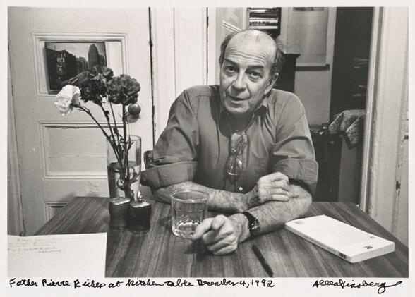 Father Pierre Riches at kitchen table December 4, 1992
