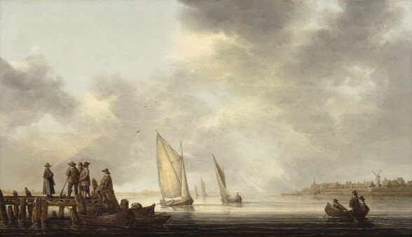 We look across a body of calm water onto a wooden pier, rowboats, sailboats, and a town on the distant shore, all beneath a pale blue with a thin curtain of clouds that takes up the top three-quarters of this horizontal landscape. The pier extends into the scene from the left edge, and stretches about a quarter of the way across the painting's width. Three men and a woman, all with light skin, stand in a group near a fourth man, who sits on a piling at the front corner. They all wear charcoal-gray, muted blue, or fawn-brown clothing and hats. A rifle leans against the hip of one man, and another looks out at the water, his back turned to the rest of the group. Three small boats are tied to the end of the dock. The one closest to us holds large containers, perhaps wrapped with rope. A fifth man bends over the far edge of the boat farthest from us. In another rowboat to our right, a man stands, another sits, and a third pulls on the oars. Four sailboats, each manned by a single person, float into the distance down the center of the composition. To our right, the town along the opposite shore has closely spaced buildings with peaked roofs, a windmill, and a tall steeple, all painted with tones of peanut-brown and tan. Light falls across the water from our left, casting the area closest to us in deep shadow. The surface of water is painted with tones of ivory and gray, matching the sky above. The ash-gray clouds part to reveal a pale blue sky at the upper left corner.