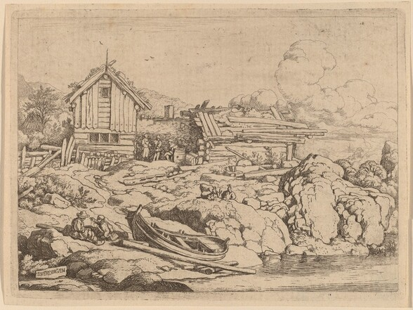 Boat at a River Bank with Three Goats