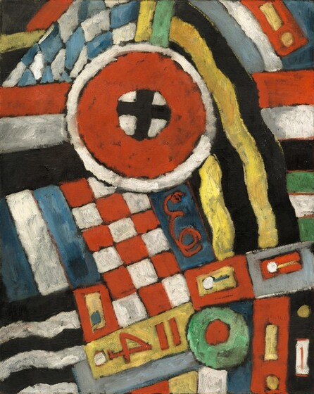 "This vertical canvas is filled with geometric shapes that create patterns in red, blue, yellow, green, black, and white in this abstract painting. The paint is applied with visible brushstrokes, giving some areas a mottled look. Some of the patterns seem to revolve around a red circle near the top center. The circle has a black cross like a plus sign on a white field at its center, and a white band around its perimeter is outlined in black. A blue and white checkered band curves up over the red circle to our left while a banner-like form of alternating, wavy yellow and black lines cascade down to the right of the circle. Horizontal bands of red, white, and black extend across the canvas behind the circle. Below the circle, a blue panel with a curly, cursive red ""E"" is flanked to the left with a red and white checkerboard, then alternating, almost vertical lines of blue and white. The red number ""4"" appears on a yellow field at the bottom center of the work, and is flanked by rectangular forms and alternating bands of color to either side."