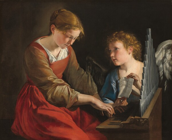 A young woman plays a small pipe organ while a winged angel holds up a piece of sheet music in this horizontal painting. A strong light source illuminates the scene from our right creating deep shadows in the dark background. Both the woman and angel have pale white skin, flushed cheeks, and golden light brown hair. Shown from the knees up and taking up the left half of the painting, the woman's body is angled to our right as she sits at the organ, near the right edge of the composition. Her hair is pulled back into a braid and wisps fall on her forehead. Her skin is smooth and her head tilts down towards the organ. Her cherry-red dress has a squared neckline and olive-green sleeves over a white shirt underneath. The voluminous sleeves are pushed back over her forearms as she rests her fingertips on the keys of the organ. Gazing towards the woman, the angel has short, curly hair, silvery gray wings, and wears a topaz-blue garment. Two lines of music on the paper the angel holds have notes written in and one staff is empty. The small organ is angled away from us so we see one narrow end and the row of pipes along its back. The dark brown background lightens behind the young woman's head.
