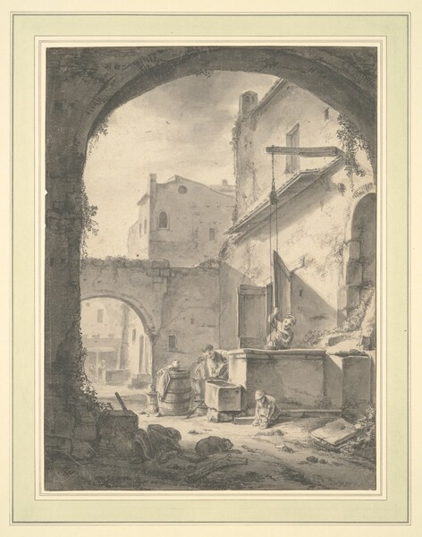 View into a Courtyard with a Family at a Well