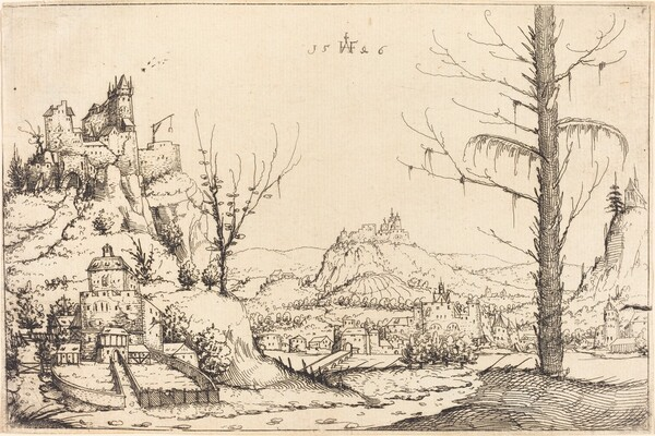 Landscape with High Cliffs, River, and City