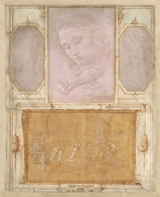 """Four drawings of faces and bodies are affixed onto a larger vertical album page, on which architectural decorations have been drawn on to act as frames. Three vertical drawings are spaced along the top half of the ivory-colored album page and one larger horizontal drawing fills the bottom half. Drawn with brown ink and gray washes, the frames appear as moldings and scrolls around each drawing, and garlands flanking the bottom sketch. The three drawings in the top zone are done with metalpoint on gray or mauve paper and are highlighted with touches of white. The metalpoint technique creates faint silvery-gray lines, giving the works an ethereal look. In the top left drawing, a nude man stands facing us. In the center, the face of a cleanshaven young man with curling hair beneath a cap looks down and to our left. Below the face, a forearm and hand clutching a rock appears next to another study of a hand. In the drawing to our right, a man wearing a toga-like robe leans on a walking stick, facing our left in profile. The drawing at the bottom is done with gray metalpoint lines and white strokes against golden yellow paper. To our right, a man sits on a throne holding a spear or scepter and globe, facing our right in profile. To our left, several studies of legs appear next to a seated man twisting around one extended leg and one extended arm. An inscription in the frame below the bottom drawing reads, """"Filippo Lippi Pitt: Fior:"""""""