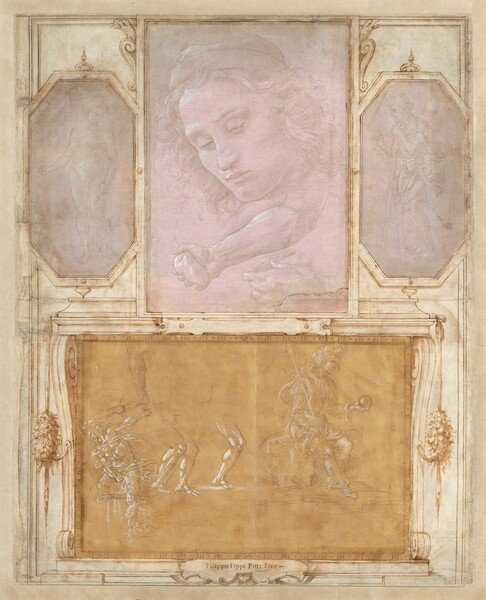 "Four drawings of faces and bodies are affixed onto a larger vertical album page, on which architectural decorations have been drawn on to act as frames. Three vertical drawings are spaced along the top half of the ivory-colored album page and one larger horizontal drawing fills the bottom half. Drawn with brown ink and gray washes, the frames appear as moldings and scrolls around each drawing, and garlands flanking the bottom sketch. The three drawings in the top zone are done with metalpoint on gray or mauve paper and are highlighted with touches of white. The metalpoint technique creates faint silvery-gray lines, giving the works an ethereal look. In the top left drawing, a nude man stands facing us. In the center, the face of a cleanshaven young man with curling hair beneath a cap looks down and to our left. Below the face, a forearm and hand clutching a rock appears next to another study of a hand. In the drawing to our right, a man wearing a toga-like robe leans on a walking stick, facing our left in profile. The drawing at the bottom is done with gray metalpoint lines and white strokes against golden yellow paper. To our right, a man sits on a throne holding a spear or scepter and globe, facing our right in profile. To our left, several studies of legs appear next to a seated man twisting around one extended leg and one extended arm. An inscription in the frame below the bottom drawing reads, ""Filippo Lippi Pitt: Fior:"""