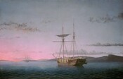 Near the center of the painting, a masted wooden ship floats against a vibrant sunset that fades from lilac-purple to bubble gum-pink along the horizon line, which comes about a quarter of the way up this horizontal landscape. The boat is angled away from us and to our left with one sail tied up near the top of one of the two tall masts. Four people stand on the lumber-filled deck and tie up other sails. A second boat floats in the distance, its rigging and masts silhouetted against the vivid pink sky. The water is deep blue along the bottom edge of the canvas and lightens where it meets the hills along the horizon. Slivers of wispy slate gray clouds sweep across the sky.