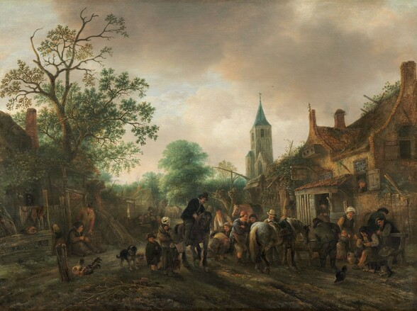 """We stand on a dirt road looking at a group of light-skinned men, women, and children along with a few horses and dogs forming a loose line across the road, which is flanked with rows of buildings on both sides that converge in the tree-filled distance in this horizontal painting. The scene is painted mostly with sage and moss greens, peanut and caramel browns, cream-white, and black. Most of the people wear hats or caps. The women wear long dresses and the men wear jackets and pants. One man wearing a black jacket with buttons down the front, and with white at the neck and cuffs, leans down from atop a black horse at the center of the group. Another man with a tall, cream-colored, brimmed hat and white collar stands behind a dappled horse to our right of center. Men, women, and children, most wearing tattered and worn clothing, look on. One woman to our left holds a baby strapped to her back and others gather around the horses. A pair of men in front of a stone building to our right smoke long, white, tobacco pipes. Others peer out of the open door and windows. An illegible sign above the door suggests that this is a tavern. Leafy vines grow over parts of the building façade. In a doorway to our left, a woman sits on the ground and holds a spindle as she feeds wool with a spinning frame. A man leans down to touch the frame and a child looks away from us, into an enclosure in front of the building. People, horses, dogs, and chickens are scattered along the road into the distance, and a church steeple rises against the ivory-white clouds in the sky beyond. A partial inscription with the artist's name and date appears in black paint in the lower right corner: """"Isack van Os 164."""""""