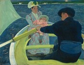 We seem to look slightly down into a lime-green and white rowboat carrying a man and a woman holding a baby. The boat and people almost fill this nearly square painting. The man wears midnight blue shoes, pants, jacket, and soft, floppy cap. He sits with his back to us, bending forward to row the boat, which is cropped by the bottom edge of the canvas. The left side of his ruddy face is visible over his left shoulder. The woman and baby both have creamy white skin. The woman and baby sit across from the man, facing us to our left in the bow. The woman's long-sleeved sky-blue dress is crosshatched with pink lines. The baby leans back in the woman's arms, and wears a pink dress, blue socks, and brown shoes. The wide-brimmed hats on both the woman and baby are painted pale celery green. They gaze towards or just past the man. The corner of the boat's sail, also painted pale green, is pulled taunt by the wind to our left. Azure blue water surrounds the boat up to the high horizon line, which brushes the top edge of the painting. The shoreline in the distance is lined with trees and dotted with white houses with red roofs.