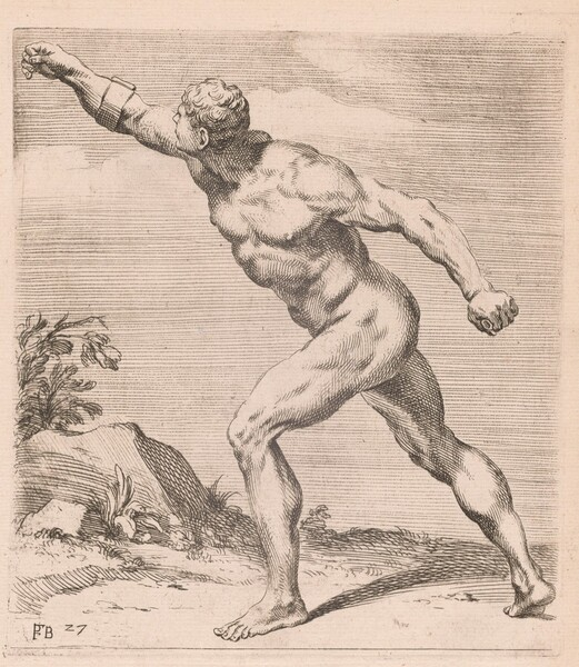 A Nude Fighting Man, side view, turned to left [plate 27]