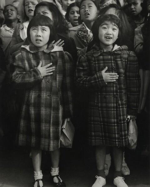 Children of the Weill public school shown in a flag pledge ceremony, San Francisco, California