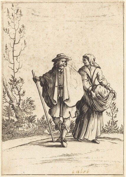Beggar Couple, with Landscape in Background