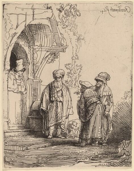 Three Oriental Figures (Jacob and Laban?)