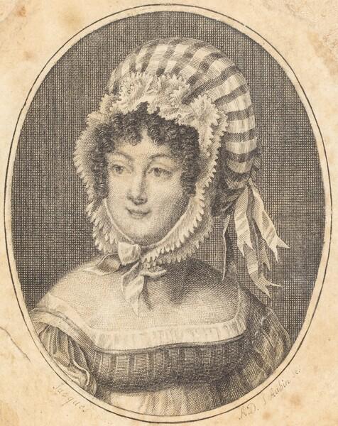 Head of a Woman Wearing a Striped Bonnet