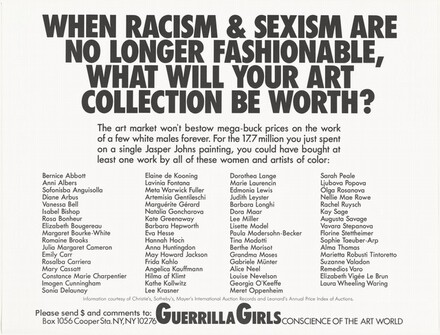 Guerrilla Girls, When Racism & Sexism are No Longer Fashionable, What Will Your Art Collection Be Worth?, 1989
