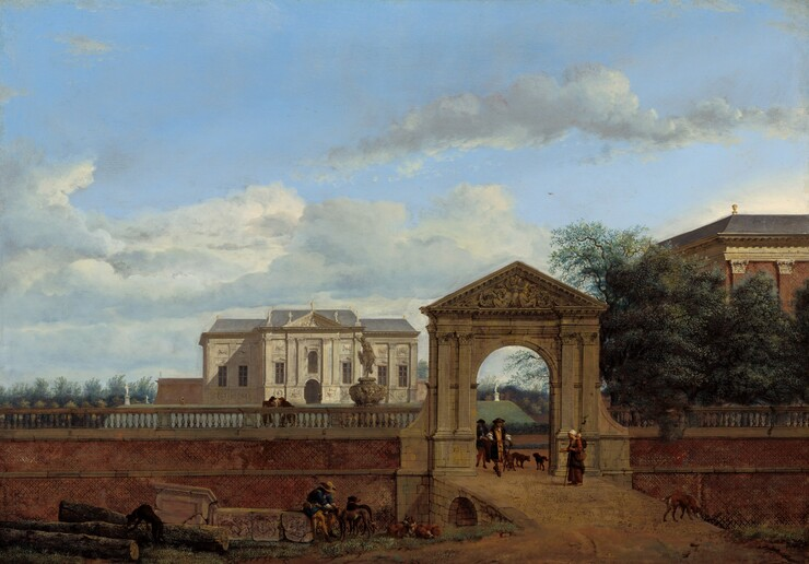 We look across a dirt road or path at a tall, brick wall flanking an ornamented, stone gateway with a white, marble manor house in the distance beyond in this horizontal landscape painting. Atop a low hill, the sunlit manor is outlined against a vivid, light blue sky with silvery gray, fluffy clouds, which fills the top two-thirds of the composition. Statues line the gray, tiled roofline along the central section of the house, and more statues stand in the grassy lawn to either side. Closer to us, the gateway and people around it are cast into shadow. The arched gate is flanked by flat columns and is topped with a triangular pediment filled with relief sculpture of people and ornamental scrolls. A ramp leads up to the opening of the gate. Two men passing under the arch have long, brown hair and wear brimmed hats, long coats, breeches tied at the knee, and stockings. The man in front carries a walking stick. A woman wearing a white head covering and long, dark dress, carries a baby tied to her back and holds her hand out toward the men. Three brown dogs walk by the men, one raising a leg against the gate, and a fourth sniffs at the side of the ramp where it meets the ground. The red brick wall is topped with a balustrade. To our left of the gate and on the far side of the wall, two men lean on the balustrade, angled in toward each other as if in conversation, near a fountain with a female person on an ornamental urn. Below them, at the foot of the brick wall, a man sits on a cracked piece of marble, presumably an antique sculpture from a building, next to three long, trimmed logs. Wearing a royal blue suit with golden yellow stockings and a tan, brimmed hat, he leans forward to touch the collar of a dog while four other dogs stand, sit, and lie down near the man. To our right, the roofline of a large, red brick building is seen over the tops of a grove of trees on the far side of the wall. The painting style throughout is detailed and precise, so one could conceivabl