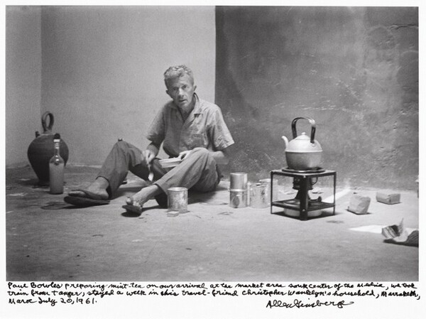 Paul Bowles preparing mint tea on our arrival at the market area souk center of the medina, we took train from Tangier, stayed a week in his travel friend Christopher Wanklyn