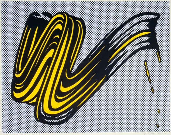 """A single stylized brushstroke creates a compressed W form that almost fills this nearly square screenprint on paper. The canary yellow brushstroke is heavily outlined with black, which creates the impression of shadows and texture swirling through the swipe of yellow paint. A few drops of yellow outlined with black suggests that the paint dripped down to our right. The background is a tight, regular pattern of small cobalt blue dots against a white ground. The artist signed the work in graphite under the lower right corner: """"rf Lichtenstein H.C. G."""""""