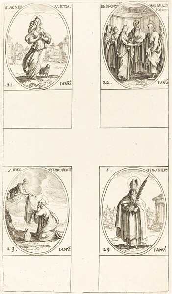 St. Agnes; The Marriage of the Virgin; St. Ildefonsus; St. Timothy