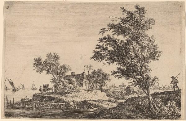 Traveler Passing Two Large Trees