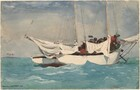 """A white boat with sails lowered floats in an aquamarine-blue ocean under a pale, sapphire-blue sky in this horizontal watercolor painting. To our right of center, the boat floats with its right, starboard side facing us and the bow angled slightly away. The white sails bunch up under the lowered, horizontal booms just above the top of the boat. The masts and rigging extend off the top of the composition. A group of a few people are gathered in the bow, on the far side of the sails, painted loosely as dark silhouettes. Waves lap against the side of the boat. To our left, an island or sliver of land with three palm trees deep in the distance lines the horizon, which comes about a third of the way up the composition. The water and sky are painted with layers of pale washes. The artist signed and dated the work in the lower left corner with dark paint: """"HOMER KEY WEST 1903."""""""