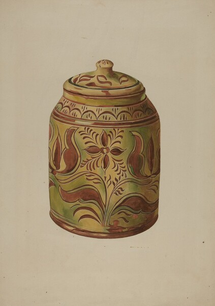 Pennsylvania German Covered Jar