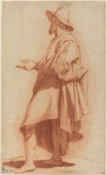 Standing Man Wearing a Cloak and Hat