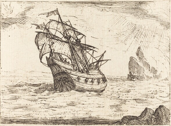 Ship Navigating Near Rocks