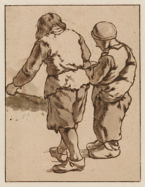 Two Boys Standing with Backs Turned
