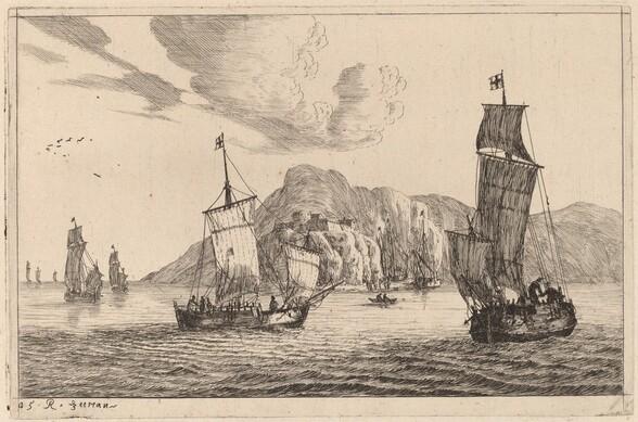 Harbor Scene with Mountainous Background
