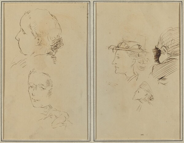 Two Head Studies and a Crouching Nude Woman; Two Women