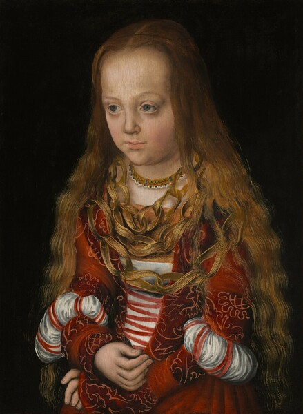 Shown from the lap up, a young girl with ivory colored skin and long, light brown hair wears a crimson-red dress with slashed, puffed sleeves and three large, gold-colored necklaces covering much of her chest in this vertical portrait painting. She sits with her body angled slightly to our left and, with her head tipped slightly forward, she looks off in that direction with slate blue eyes under faint brows. Her long, wavy, golden-brown hair falls from her high forehead and lies loose around her shoulders. Her dress has bands of a floral pattern outlined in a lighter red against a ruby-red background, and the bodice ties with red laces down the front over a white undershirt. The tight-fitting, long sleeves are slashed around the elbows so the white linen shirt is pulled through to create puffs. Her high-necked chemise has a jeweled band at the neck. The three strings of the distinctive necklace seem to be made of gold-colored strips of fabric or leather made into twisting, loops like links. Each strip is painted or decorated with a fine, dense lattice pattern and edged in gold. The girl sits with her wrists crossed in her lap against a black background.