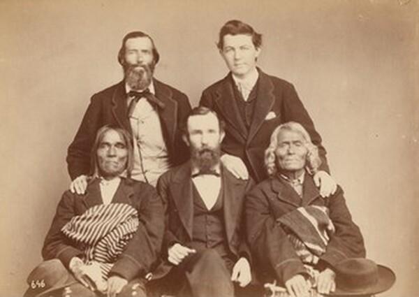 Alexander Gardner, William Henry Jackson, and Antonio Zeno Shindler with Pueblo delegates Alejandro Padilla, Governor of Isleta, and Ambrosio Abeita, Ex-Governor of Isleta