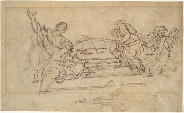 Figures on Steps (Studies for an Assumption of the Virgin)