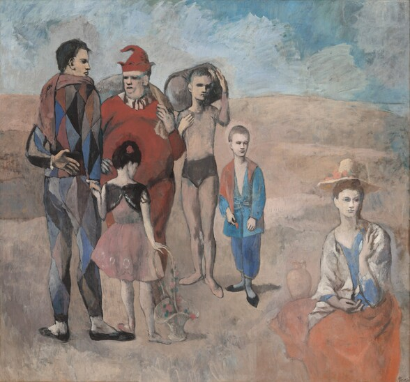A group of six white people—three men, two children, and one woman—gather in an empty, dusky rose landscape under a blue cloudy sky in this nearly square painting. The woman sits on the ground to our right, apart from the rest of the men and children. She wears a coral red skirt, a beige shawl, and straw hat, and she looks into the distance to our right. The others stand in a loose semi-circle on the left half of the composition. A man wearing a multicolored, diamond-patterned costume stands with his back to us to the left. He looks to our right in profile and holds the hand of a little girl who also stands with her back to us. She wears a pink dress and white stockings, and her right hand rests on the tall handle of a white basket. A portly man wearing a scarlet jester's costume and pointed hat stands opposite this pair, facing us to our right. Next to him to our right a young man wears a flesh-colored leotard with a black bottom. He holds a barrel over his right shoulder and looks over to our right. The sixth person is a young boy wearing a baggy blue and red outfit, and he looks towards the woman. The eyes of all the figures are deeply shadowed.