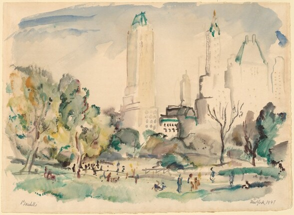 View of the Skyline of New York from Central Park