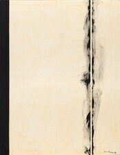 "Two black bands span the height of this vertical canvas against a field of white mottled with shades of ivory, bone, and parchment in this abstract painting. A narrow, solid black stripe lines the left edge of the canvas, like the spine of a book. About a quarter of the way in from the right edge, black paint swirls and wafts like smoke on either side of a narrow white stripe the same color as the background. The artist signed and dated the painting in black paint in the lower right corner of the canvas: ""Barnett Newman 1958."""