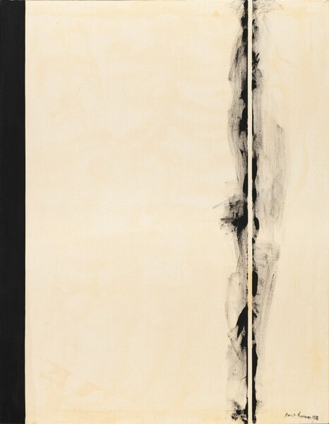 """Two black bands span the height of this vertical canvas against a field of white mottled with shades of ivory, bone, and parchment in this abstract painting. A narrow, solid black stripe lines the left edge of the canvas, like the spine of a book. About a quarter of the way in from the right edge, black paint swirls and wafts like smoke on either side of a narrow white stripe the same color as the background. The artist signed and dated the painting in black paint in the lower right corner of the canvas: """"Barnett Newman 1958."""""""