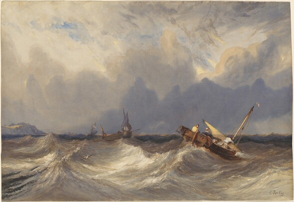 Fishing Boats Tossed before a Storm